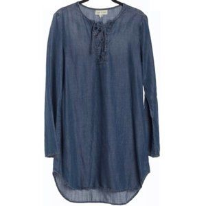 Cloth & Stone Chambray Lace Up Shift Dress Blue XS